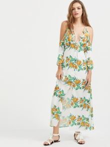 White Flower Print Strappy Cold Shoulder Slit Dress