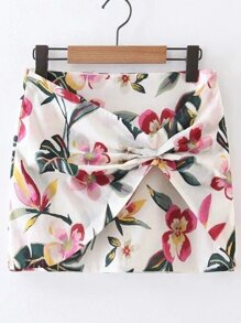 Multicolor Floral Zipper Side Skirt
