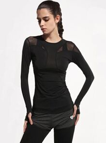 Active Mesh Paneled Gym T-Shirt With Thumb Holes