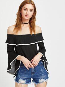 Black Contrast Trim Bell Sleeve Ruffle Top