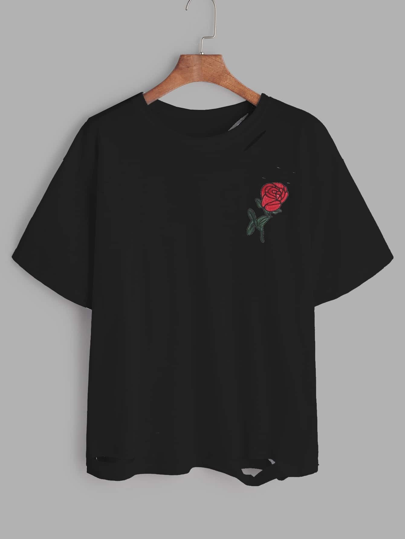 Black rose embroidered ripped t shirt emmacloth women fast
