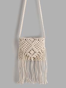 White Tassel Detail Straw Crossbody Bag