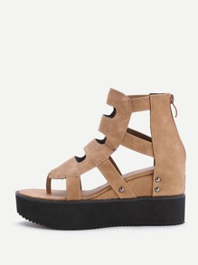 Khaki Cutout Toe Post Flatform Sandals