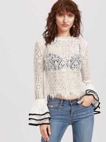 White Contrast Binding Bell Sleeve Floral Lace Top