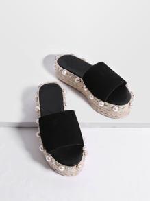 Black Faux Pearl Espadrille Flatform Slippers