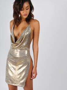 Backless Metallic Plunge Cowl Dress GOLD