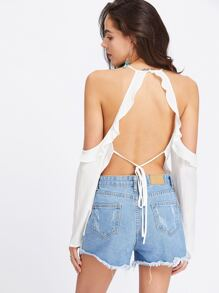 Whit Ruffle Cold Shoulder Open Back Crinkle Top