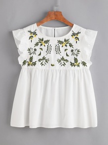 White Flower Embroidered Buttoned Keyhole Ruffle Babydoll Top