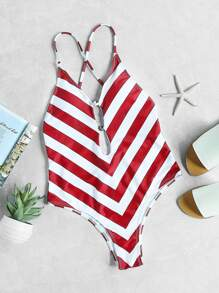 Red White Chevron Print Plunge Neck Crisscross Swimsuit