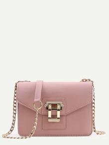 Contrast Lock Flap Shoulder Bag