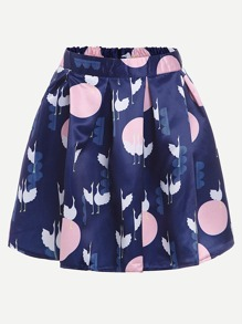 Crane Print Box Pleat Skirt