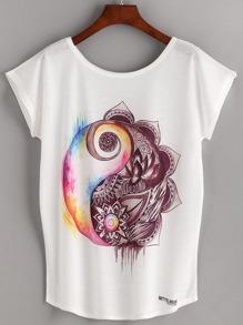 White Ink Painting Print Dolman Sleeve T-shirt