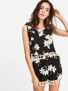 Black Floral Print Tassel Hem Tank Top With Shorts