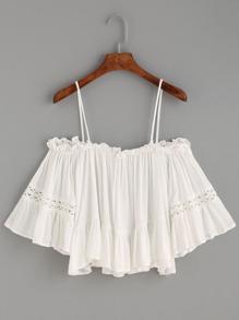 White Crochet Insert Cold Shoulder Ruffle Top