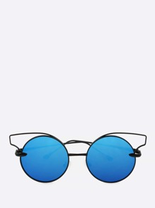 Cat Eye Rim Circle Sunnies BLUE