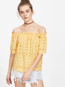 Yellow Eyelet Embroidered Ruffle Bardot Top