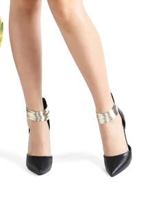 Black Contrast Ankle Detail Point Toe PU Heels