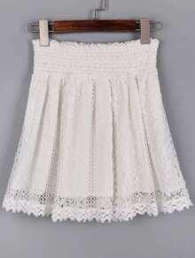 White Lace Crochet Elastic Waist Skirt