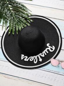 Black Letter Patch Wide Brim Straw Hat