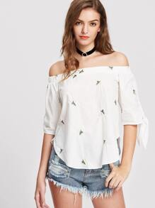 White Tie Sleeve Daisy Embroidered Curved Bardot Top