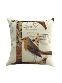 Bird And Letter Print Pillowcase Cover