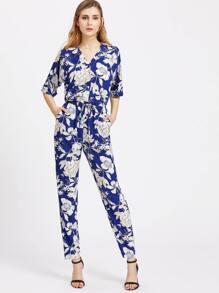 V Neck Half Sleeve Drawstring Waist Floral Peg Jumpsuit