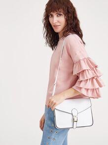 White Buckle Design Flap Messenger Bag