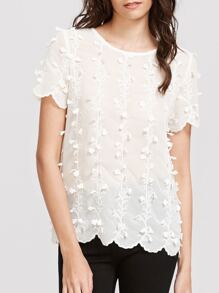White Botanical Applique Embroidered Top