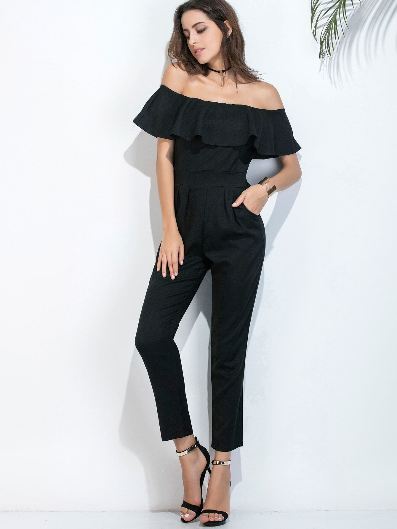 black off the shoulder ruffle trim jumpsuit emmacloth women fast fashion online. Black Bedroom Furniture Sets. Home Design Ideas