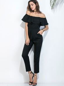 Black Off The Shoulder Ruffle Trim Jumpsuit