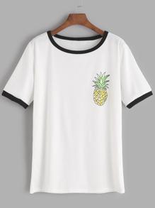 White Contrast Trim Pineapple Print T-shirt