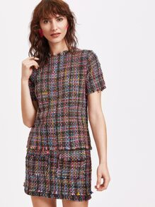Multicolour Weave Top With Keyhole Back