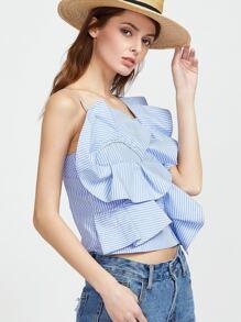 Blue Striped Asymmetric Shoulder Ruffle Top