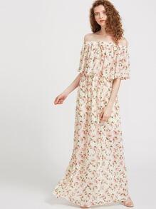 Floral Print Maxi Flounce Bardot Dress