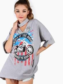 Heather Grey Drop Shoulder High Low T-shirt