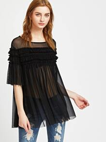 Black Frill Detail Swing Mesh Top