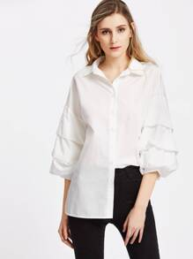 Drop Shoulder Ruched Lantern Sleeve Blouse