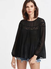 Black Lace Insert Lantern Sleeve Pleated Top