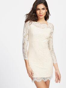 Beige Eyelash Lace Overlay Bodycon Dress