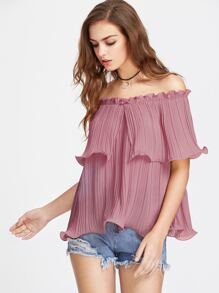 Frilled Pleated Off The Shoulder Top