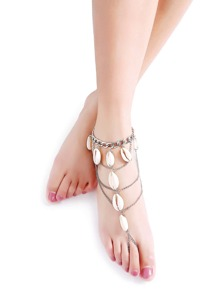 Silver Layered Chain Shell Anklet