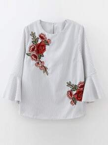 White Embroidery Vertical Striped Bell Cuff Blouse