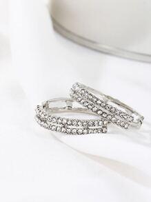 Silver Rhinestone Design Hoop Earrings
