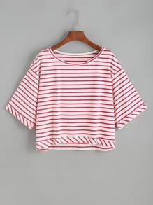 Red White Striped Drop Shoulder T-shirt