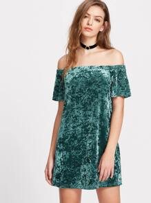Green Off The Shoulder Crushed Velvet Dress