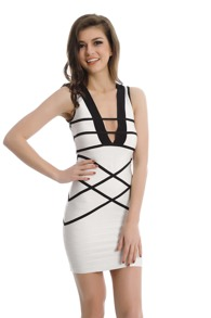 White Striped Deep V Neck Bodycon Dress
