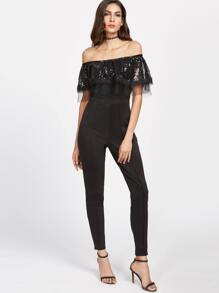 Black Layered Sheer Mesh Sequin Detail Jumpsuit