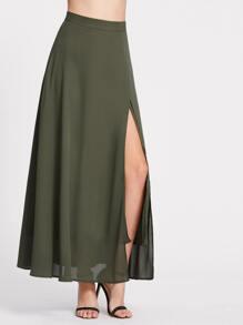 Olive Green High Split Skirt