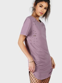 Curved Hem  Distressed Tee Dress