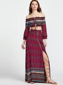 Burgundy Vintage Print Drawstring Crop Top With Maxi Skirt